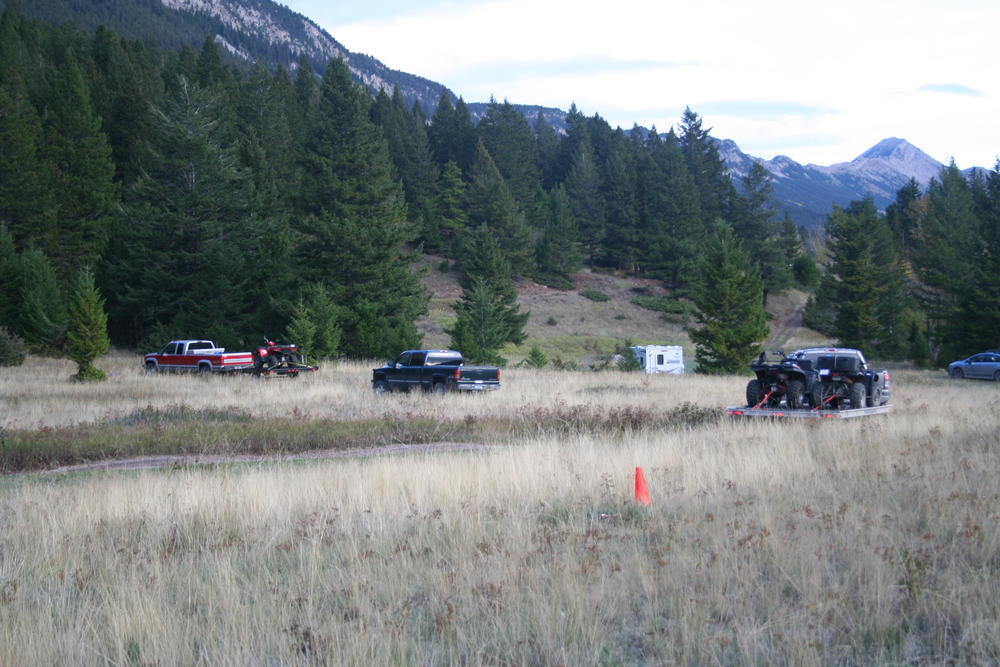 4 vehicles parked in grassy field